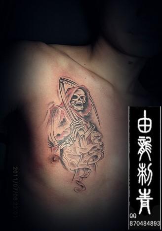死神 纹身 六翼死神镰刀纹身,骷髅镰刀死神纹身图片
