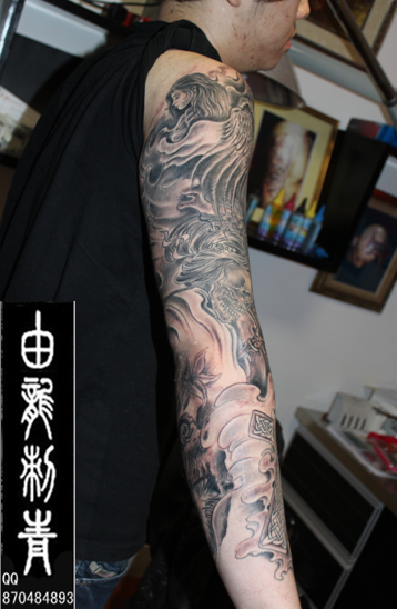 欧美花臂纹身_大图_上海由龙刺青; 黑灰花臂纹身纹身黑臂图片黑灰包臂