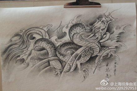 龙纹身手稿_由龙手稿_上海由龙刺青
