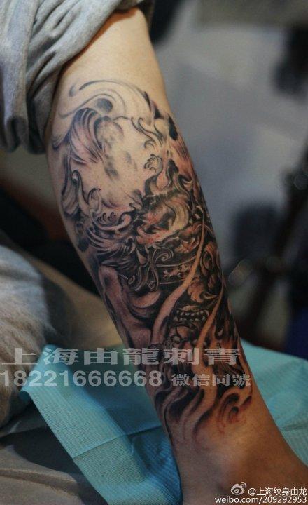 小腿狮子纹身手稿分享展示
