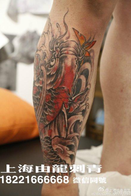 小腿鲤鱼纹身勾线分享展示