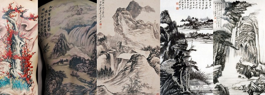 浦东纹身 山水画纹身 山水画纹身图案