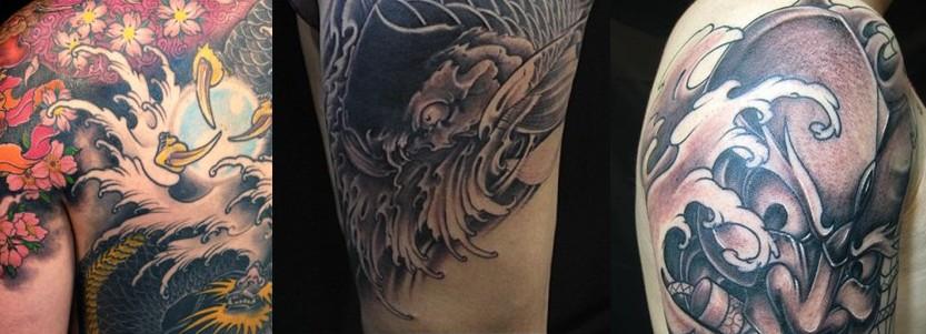过肩龙刺青纹身图案 披肩龙刺青纹身图案 背后龙刺青纹身图案 龙刺青